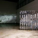 Yann Lévy In_exterieur encre typographique sur polyester 2017 et Matt Coco le lieu avant la danse vidéo performance Benoît Caussé 2017